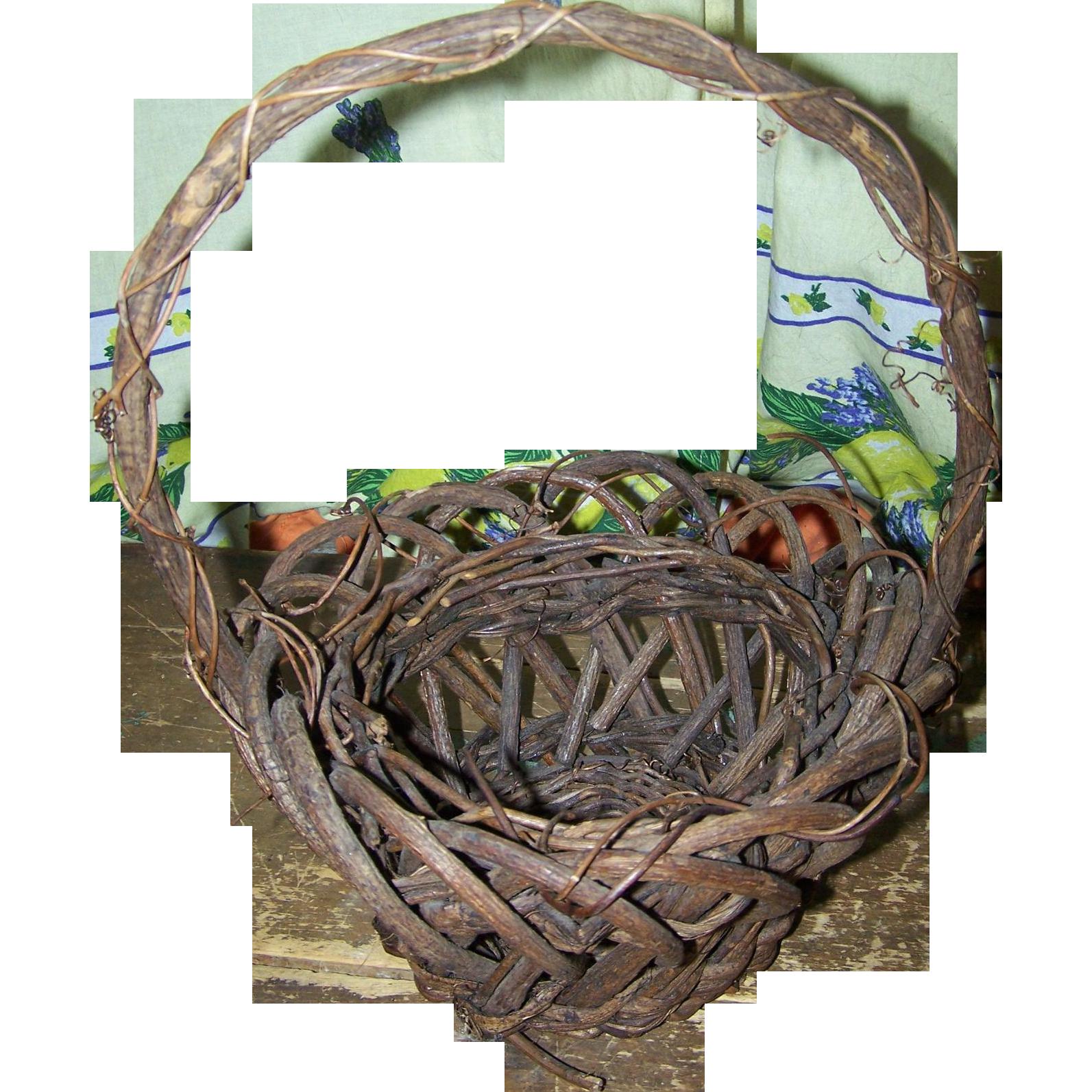 Primitive Farmhouse Farm House Style Branch Twig  Gathering Basket