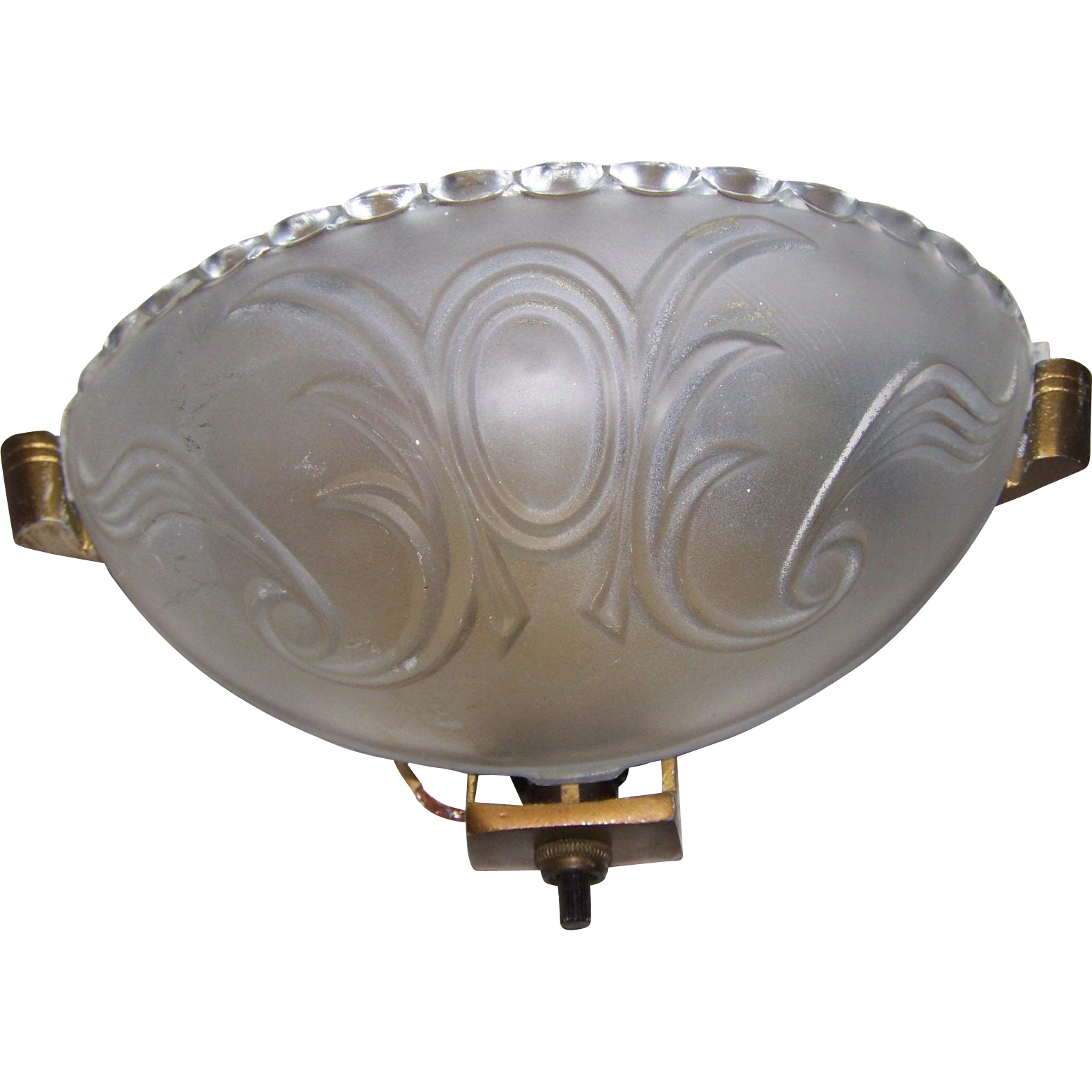 Deco Era Embossed Frosted Glass Slip Shade Wall Sconce Fixture Plus from victoriasjems on Ruby Lane