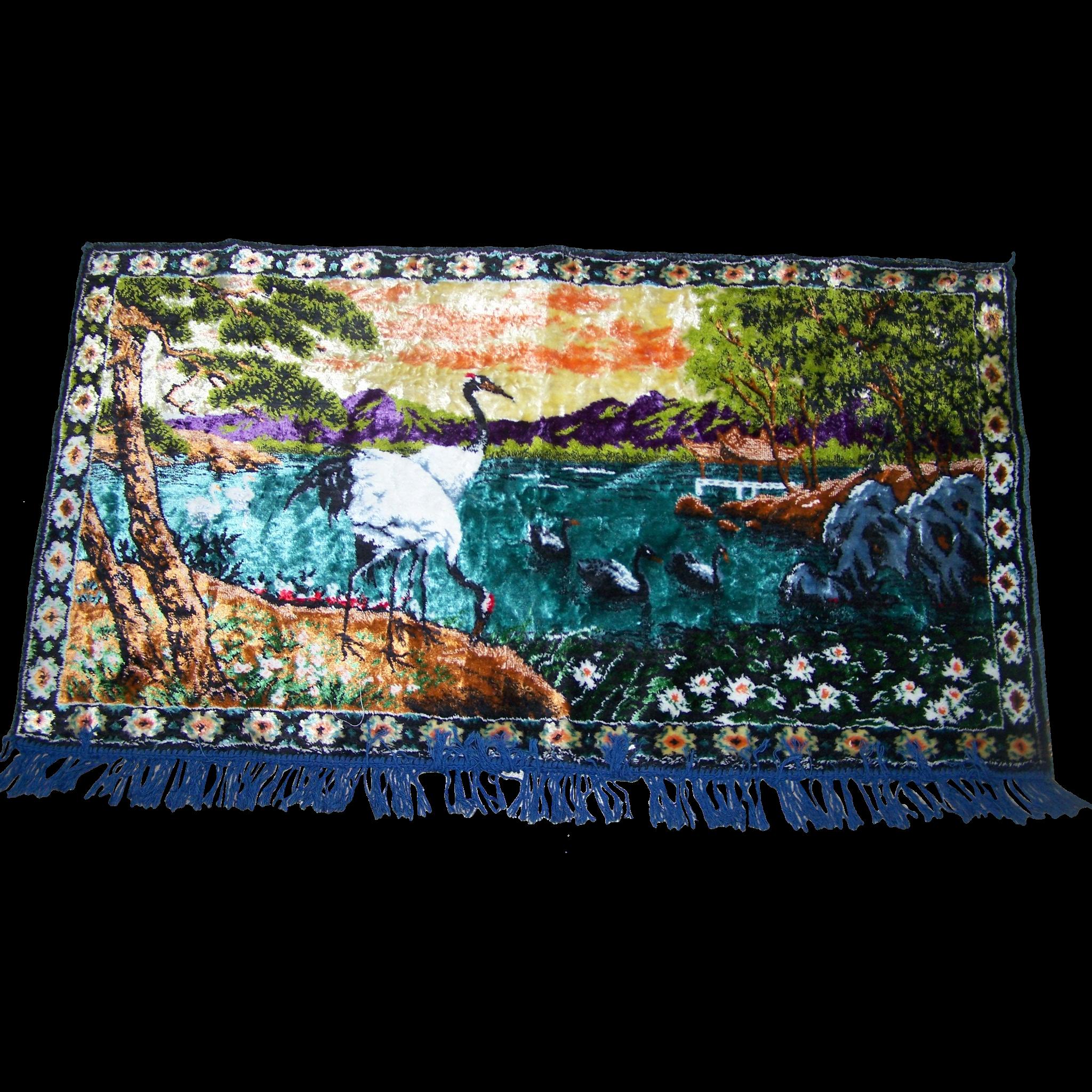 Lovely Vintage Velvet Tapestry  Style Wall Hanging Scenic Pond Bird Art