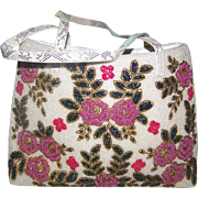 A Simply WOW Vintage Micro Glass Seed Bead Purse Hand Bag Flower Pattern Faux Snake Skin  Straps
