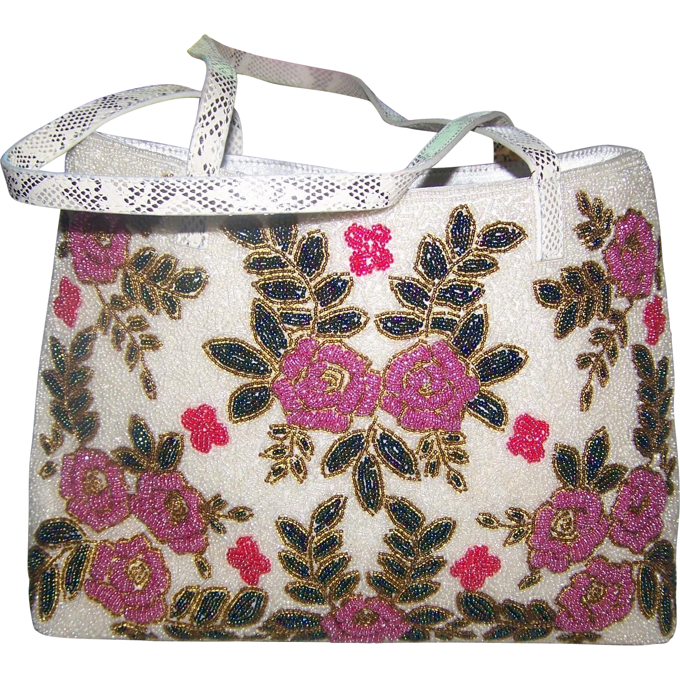 A Simply WOW Gently Used  Micro Glass Seed Bead Purse Hand Bag Flower Pattern Faux Snake Skin  Straps