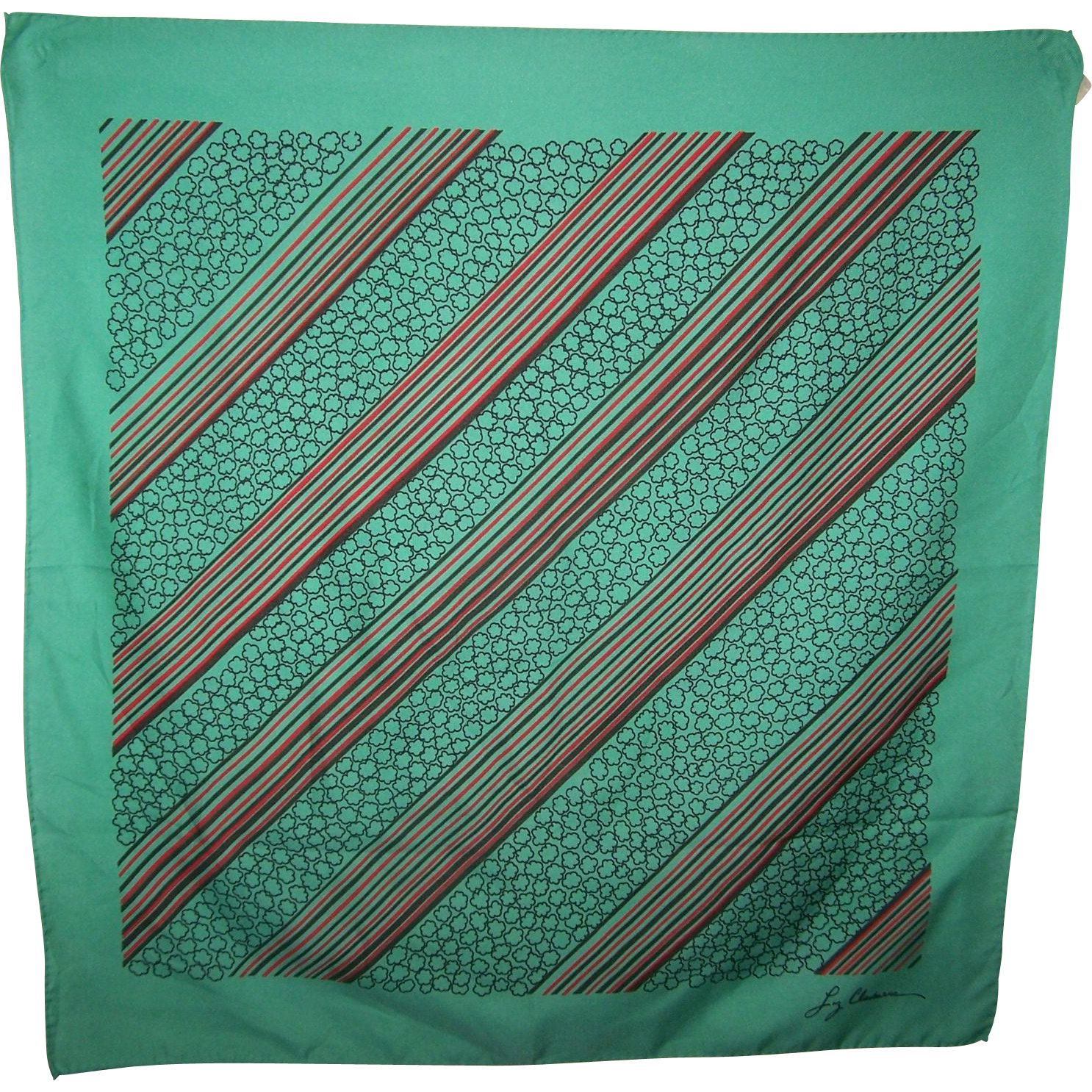 Early Cursive Script Designer Signed Liz Claiborne Fashion Scarf Geometric Op Art