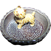 Vintage Wade England Puppy Dog in Basket Figural Figurine Pin Dish