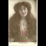 "Charming Vintage Tinted Postcard Edwardian Beauty "" Miss Madge Crichton "" Rapid Photo Company"