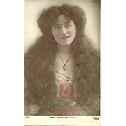 "Charming Vintage Tinted Postcard Edwardian Beauty "" Miss Madge Crichton "" Rapid Photo Company"