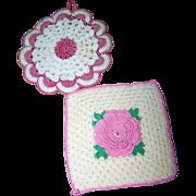 2 Sweet Decorative Vintage Crochet Small  Doilies Pot Holders