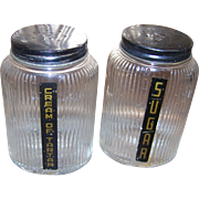 Ribbed Owen Illinois   Glass Spice Shakers Farmhouse Hoosier Deco Era