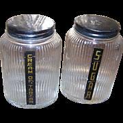 Ribbed Owen Illinois   Glass Spice Shakers Farmhouse Hoosier Deco Era