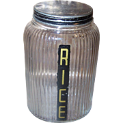 Vintage Owens Illinois Hoosier Depression Glass RICE Canister with Metal Lid