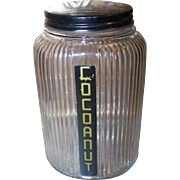 Ribbed Glass Hoosier Canister Jar with Original Aluminum Lid.
