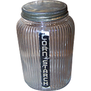 Owen Illinois Ribbed Clear Glass Jar Hoosier Canister Deco Era