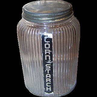 Owen Illinois Ribbed Clear Glass Jar Hoosier Canister Deco Era