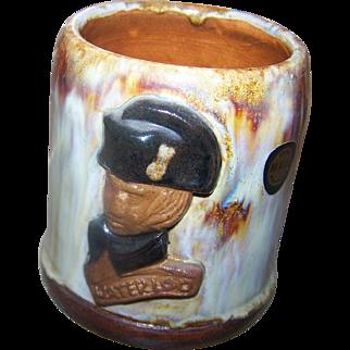 Hand Made Pottery Mug Napolean Watrerloo BOUFFIOULX