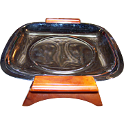"Glo-Hill Gourmates 7"" Square Serving Dish Mid-Century Bakelite Handles & Feet"
