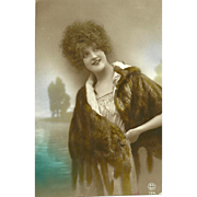 Pretty Lady Wearing Fur Real Photo Tinted Postcard P.C. Paris