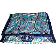 Lovely Long Gently Used Vintage Paisley Print Silk Scarf Blues