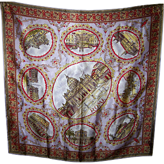 Collectible Novelty  Vintage Travel Souvenir Scarf  Tourist Attractions Roma