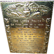 Lovely Vintage Brass Wall  Decor Plaque  The Lord's Prayer Catholic Version