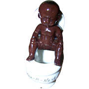 "Humorous Vintage Ceramic Figurine ""One Moment Please"" Little  Boy On Toilet Butt Holder You-R-Next"