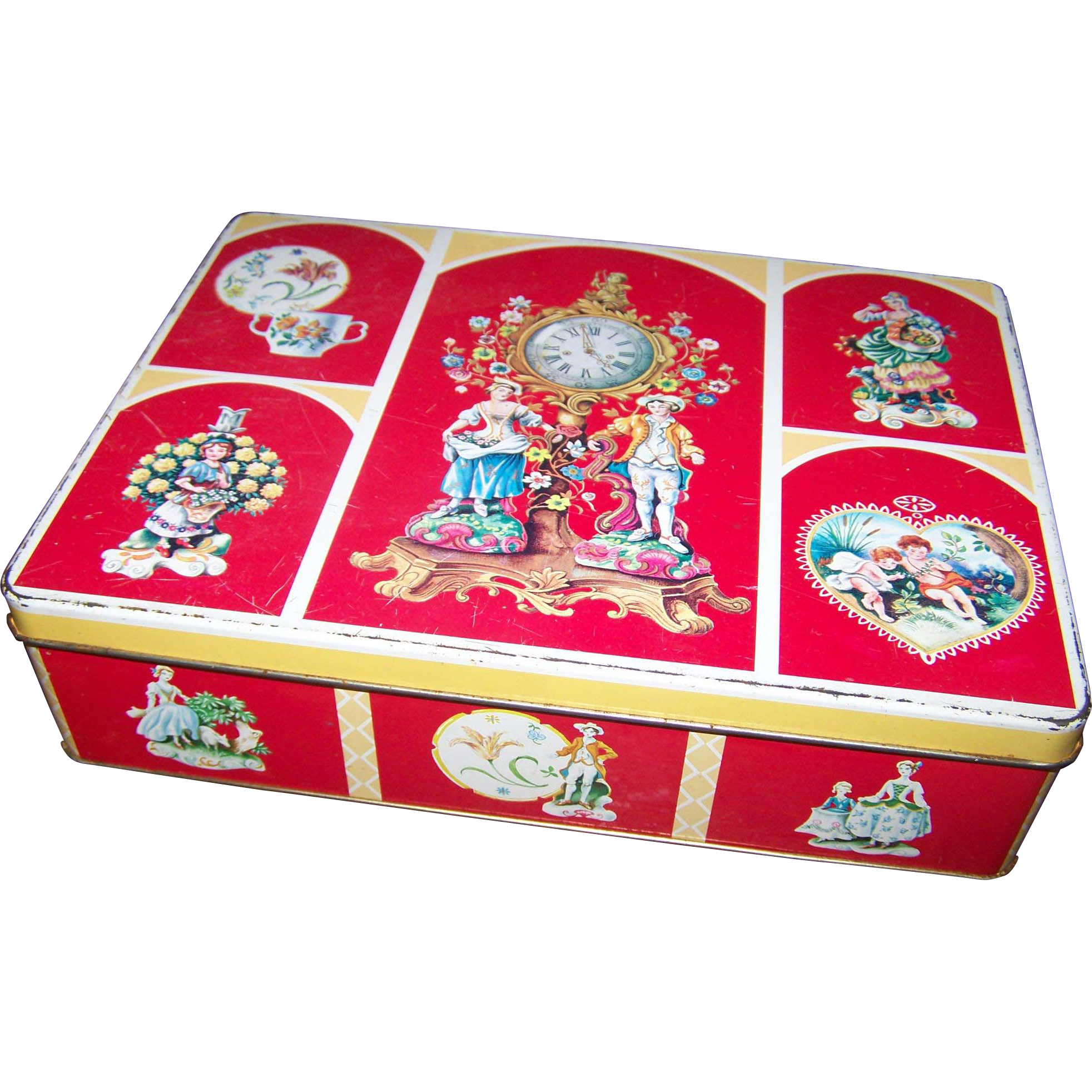 A Charming  English Biscuit Cookie  Tin With  Victorian Couple Cherubs Teacups Figurines