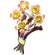 Lovely Deco Era Designer Signed CORO Enamel Rhinestone Pot Metal Flower Brooch Pin