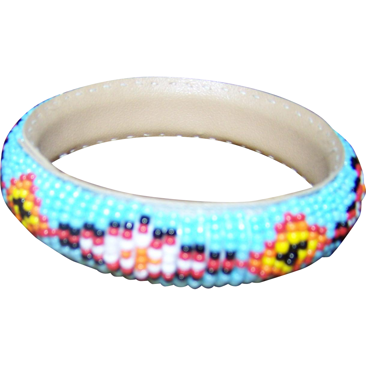 A Lovely Vintage Native American Seed Glass Bead Bangle Bracelet