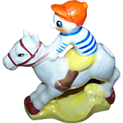 Charming  Vtg Jockey on Horse Back  Lustreware Tooth Brush Holder MIJ