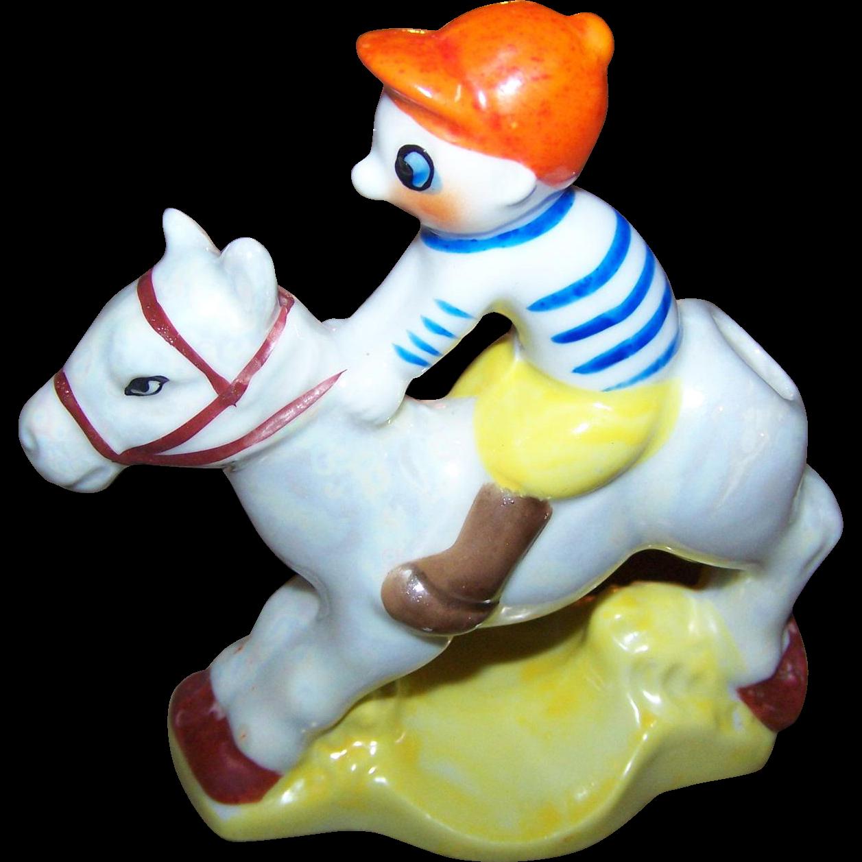 Charming  Vtg Jockey on Horse Back  Lustreware Tooth Brush Holder MIJ