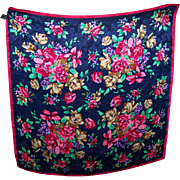 Colorful Bright and Cheerful Vintage 100 % Polyester Floral Print Ladies Fashion Scarf