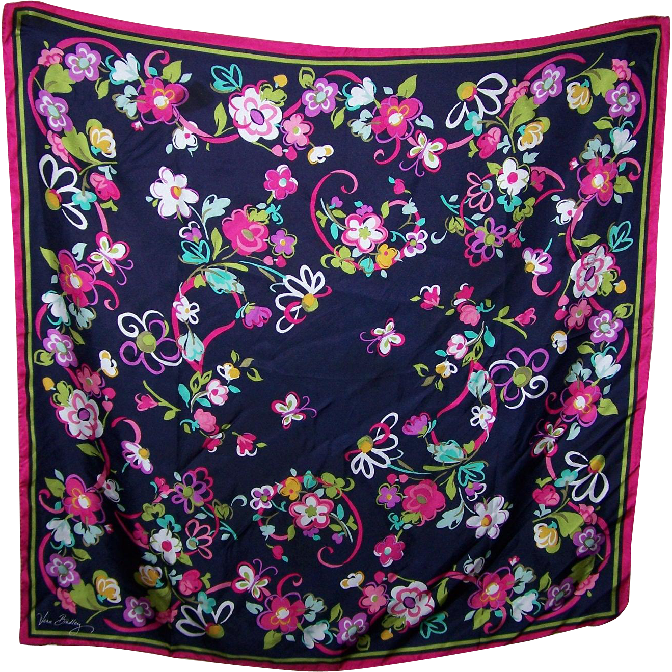 Oh So Pretty Designer Signed Vera Bradley Mixed Floral Butterfly Silk Scarf