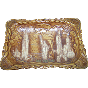 Souvenir Travel Tourist Plastic Wood Grain Style  Square Bowl NEW YORK CITY Statue of Liberty ANCO