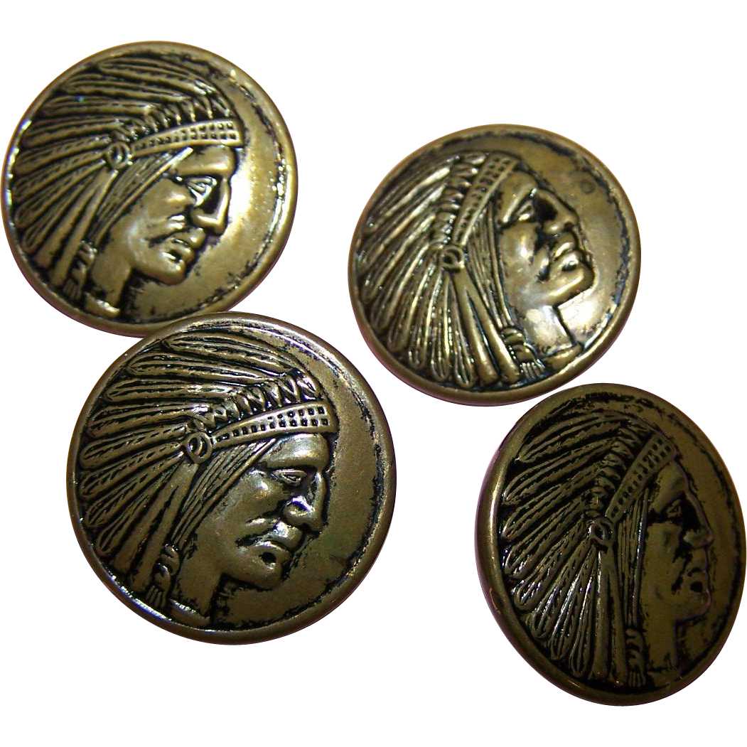 4 Brass Tin Metalware Picture Buttons Native Indian Head