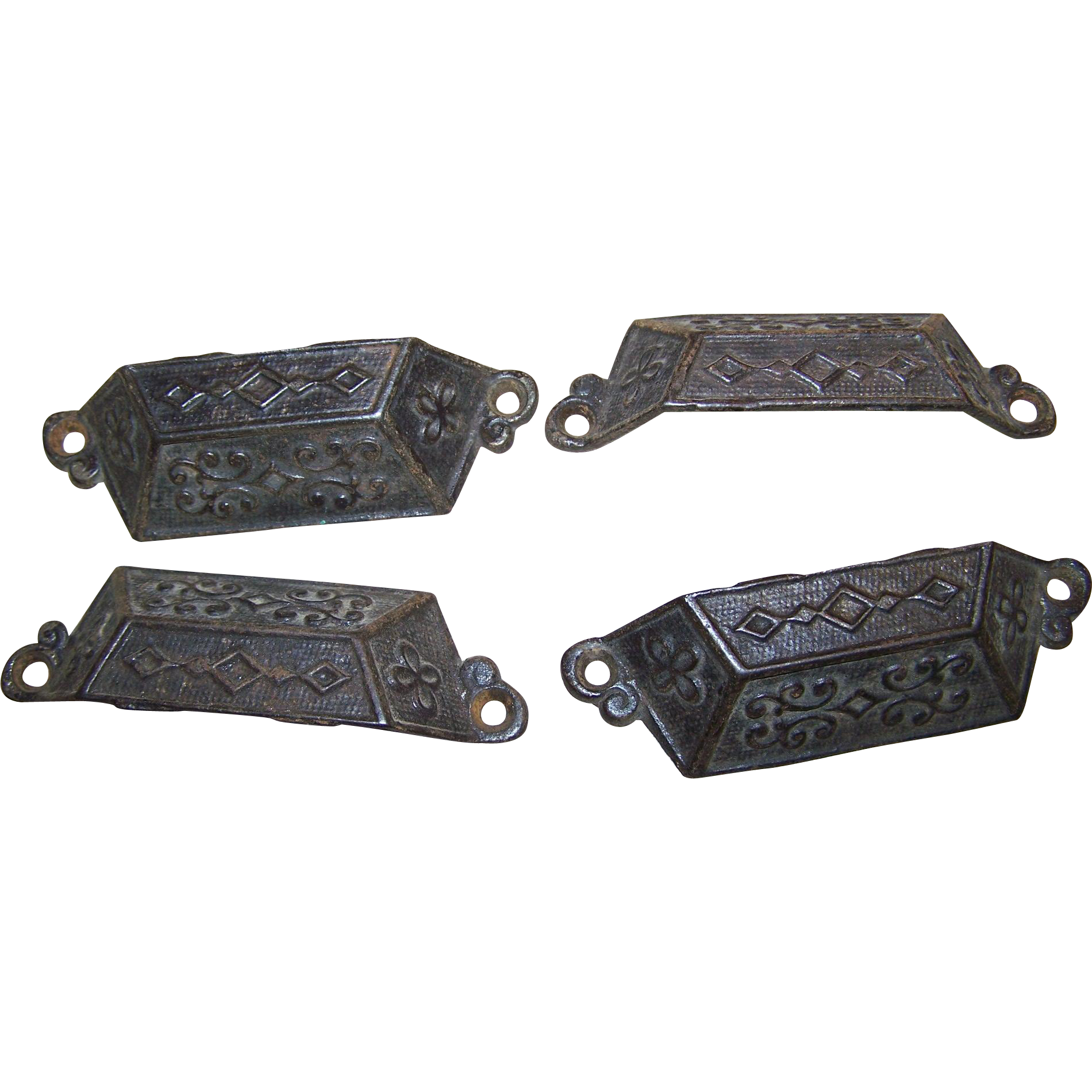 Four Vintage Decorative  Embossed Eastlake Period Style   Drawer Pulls Bin Handles