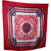 Lovely Vintage Red White & Blue Themed  Decorative Ladies Fashion Scarf Rolled Edges