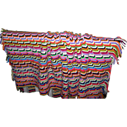 Bright Colorful Cheerful Hand Knit  Blanket of Many Colors