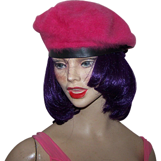 Pretty In Pink Angora Parkhurst Ladies Fashion Beret Hat Tam Canadian Made