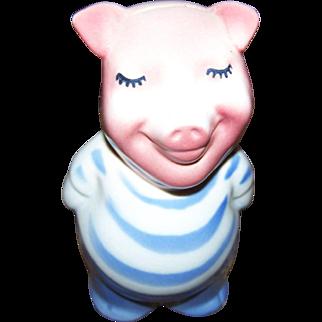 Vintage Royal Copley Ceramic Blue & Pink Break Open Style Piggy Bank