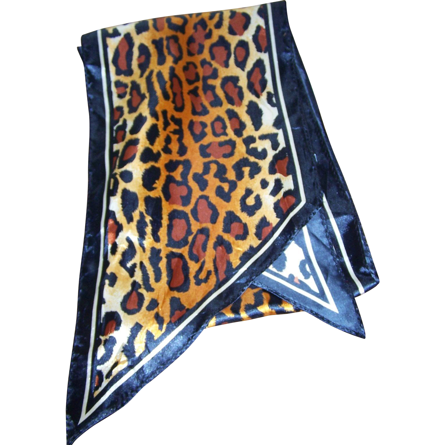 Vintage Wild Cat Animal Print Long Rectangular Skinny Wing Tipped Style Scarf