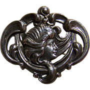Lovely Sterling Front Maiden with Flowing Hair Pin Brooch Nouveau Style