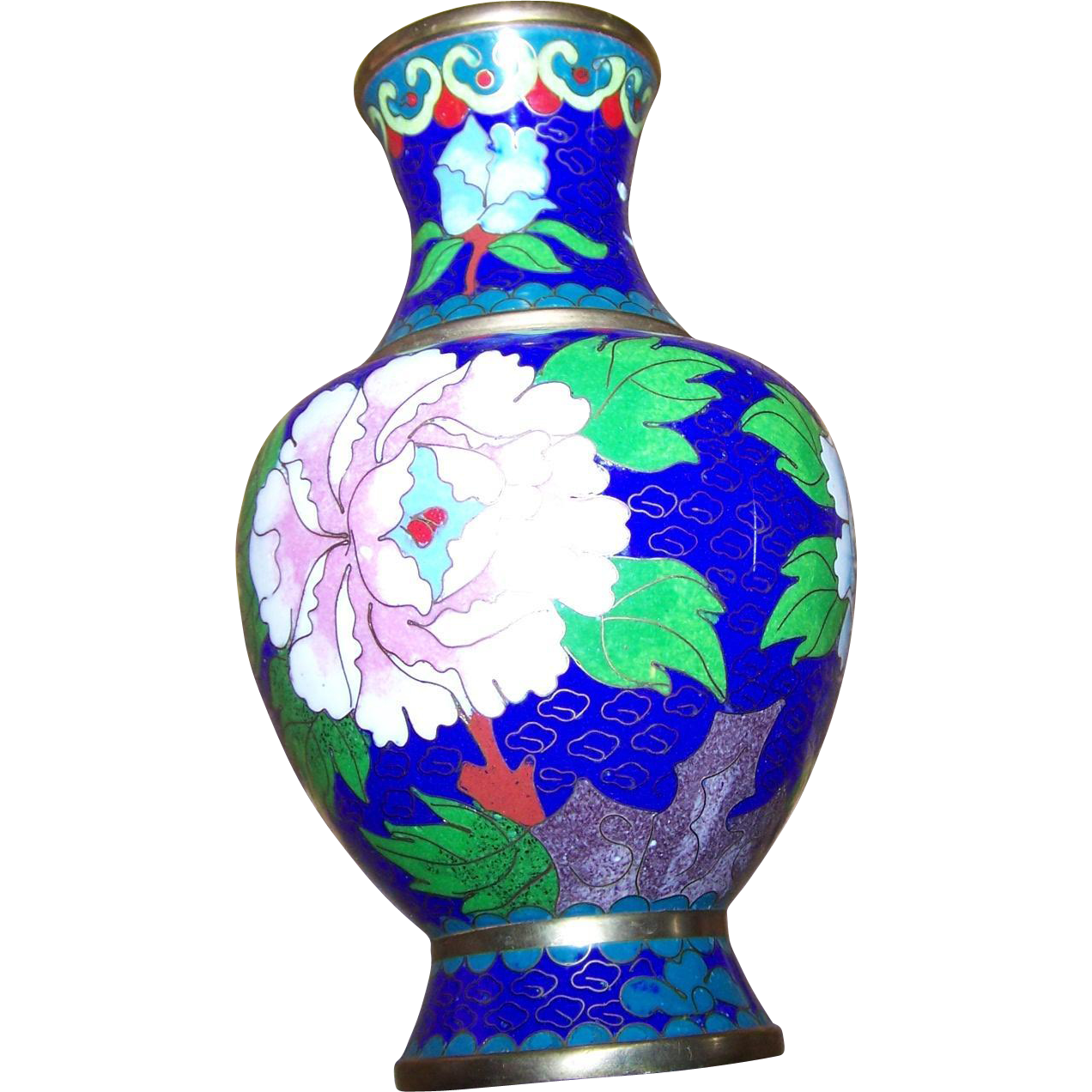 Vintage Chinese Cloisonne  Enamel Floral w/Butterfly Decorative Metalware Brass Vase