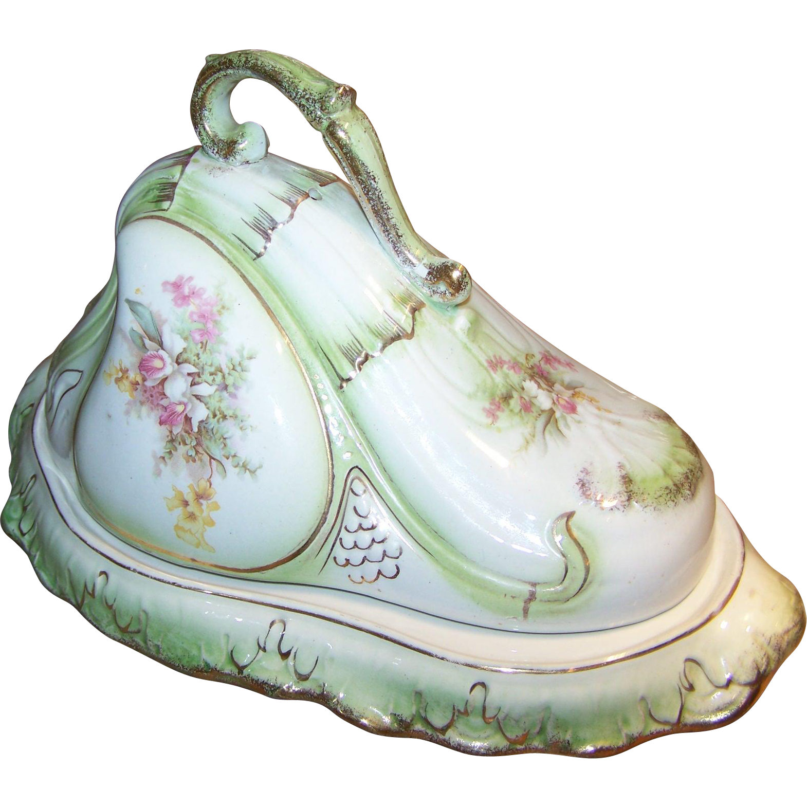 A Beautiful Vintage  Cheese Keeper Dome Floral Theme  Reg No 179 320