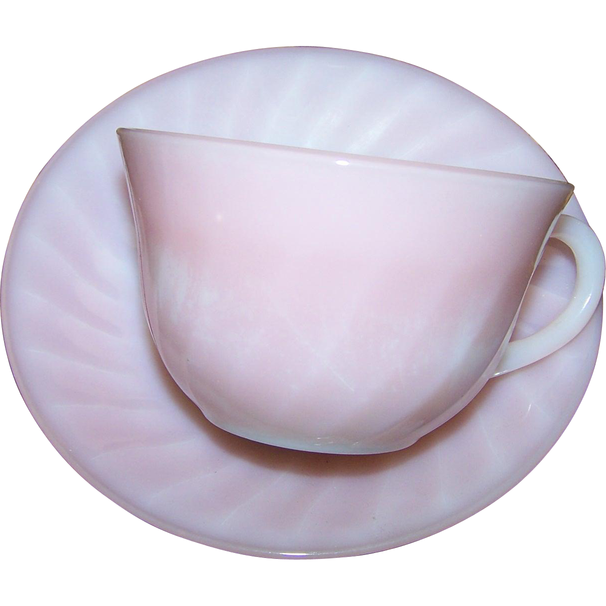 Pink Flamingo Swirl Fire King Oven Ware Glass Tea Cup Saucer Set USA