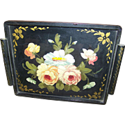 Stunning Vintage Folk Art Hand Painted Wood Wooden Flower Floral Pattern Tray