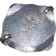 Hand Wrought Aluminum Ware Trade Continental Mark Silverlook 721 Handled Tray Floral Theme