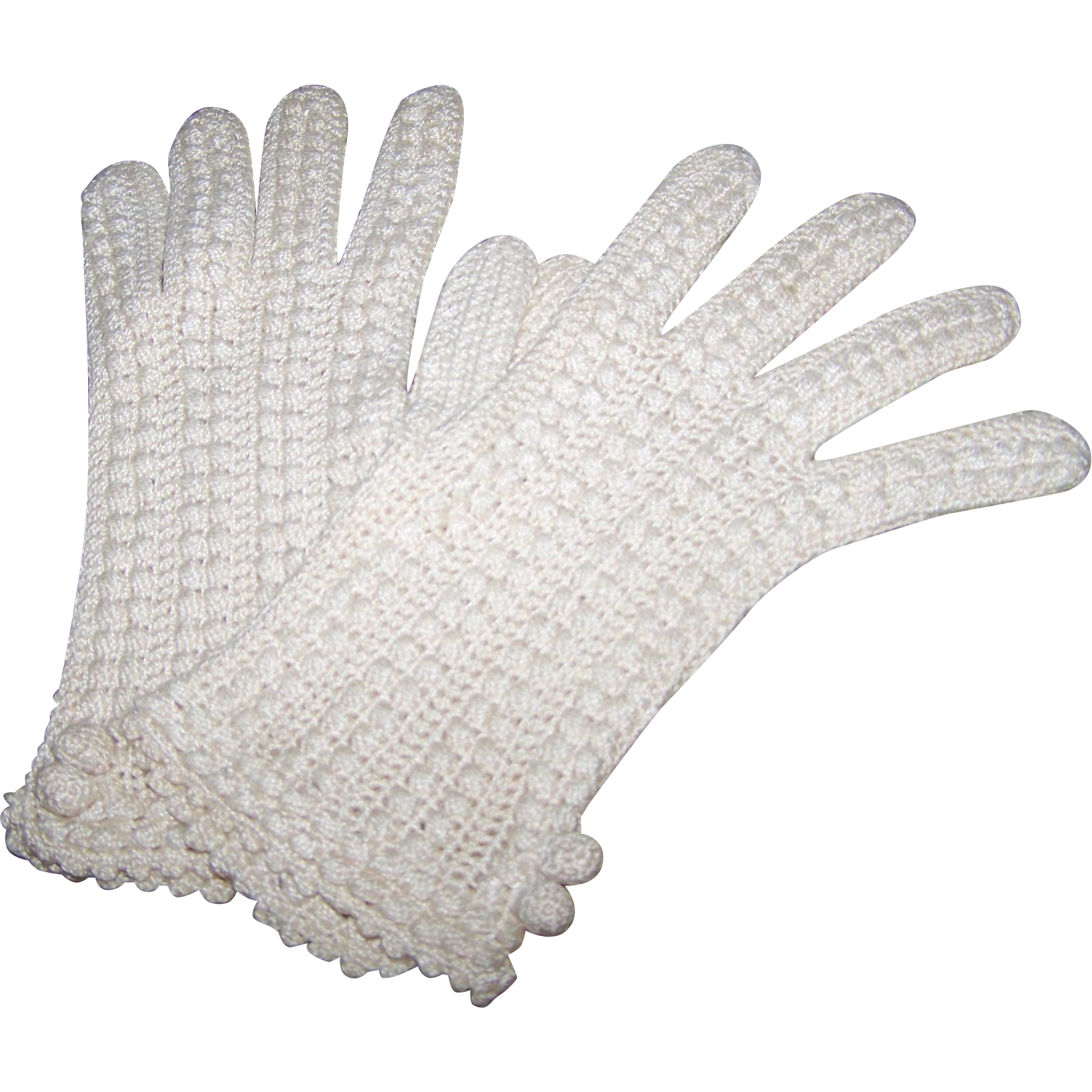 Sweet Vintage Hand Crochet Ladies Ecru Fashion Gloves