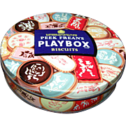 An Old  Decorative Peek Frean's Play Box Advertising Cookie Tin Litho Can
