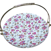 Pretty Vintage All Over Floral Pattern Chintz Tidbit Plate Server with Handle Japan
