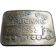 Vintage Keep on Trucking Metalware Brass Plate Belt Buckle 18 Wheeler Cab Over