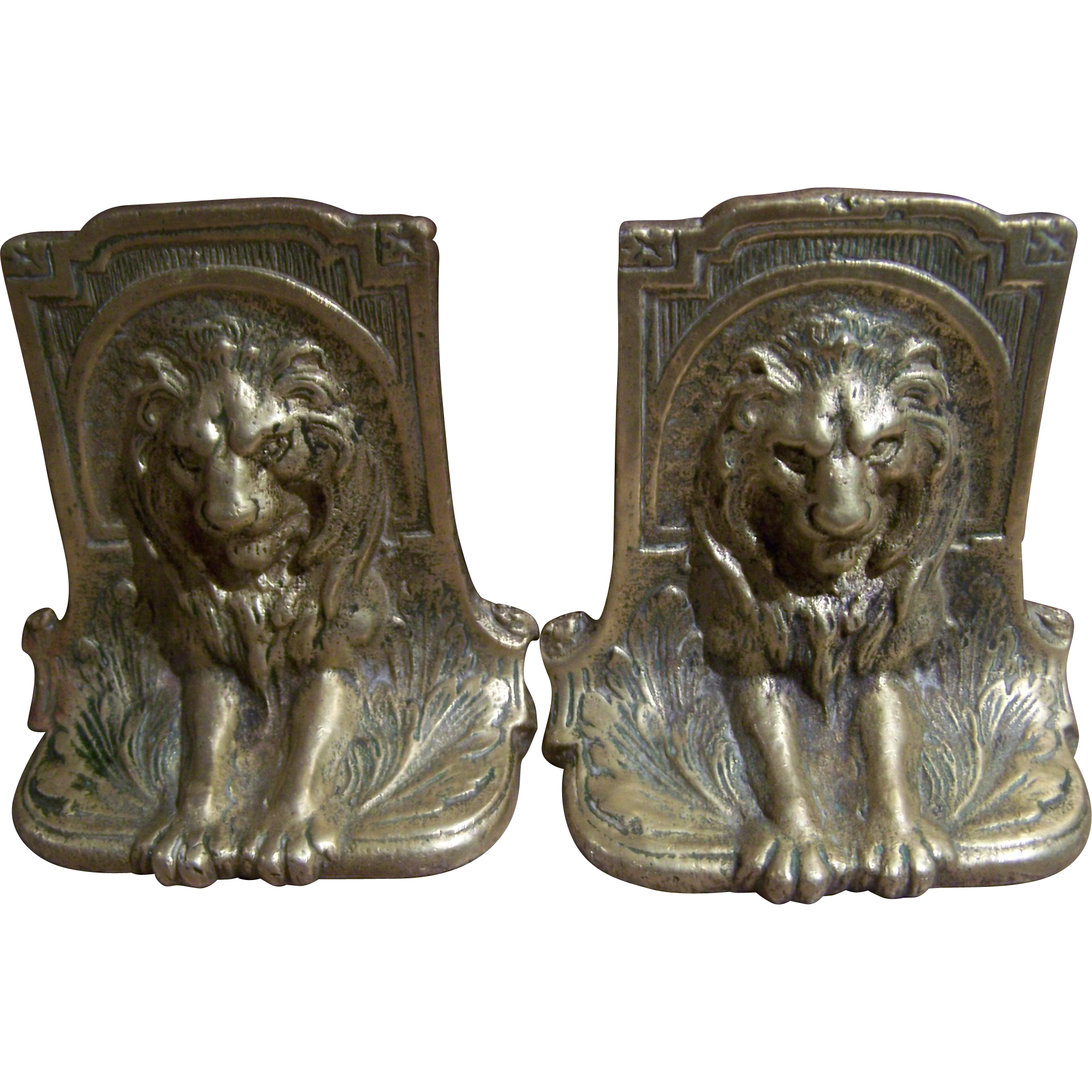Beautiful Vintage Brass Metalware Wild Cat Lion Bookends Book Ends