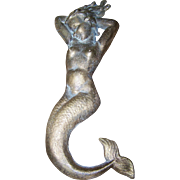 Cast  Metalware Risque Nude Mermaid Sculpture Plaque Brass Bronze  Finish Unique